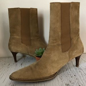 Banana Republic Suede Ankle Boots Cowboy Heels 8.5